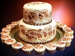 cakes with henna patterns